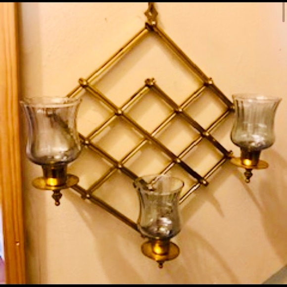 PARTYLITE BRASS WALL HANGING ACCORDION SCONCE